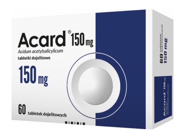 Acard 150 mg interakcje ulotka tabletki dojelitowe 0,15 g 60 tabl.