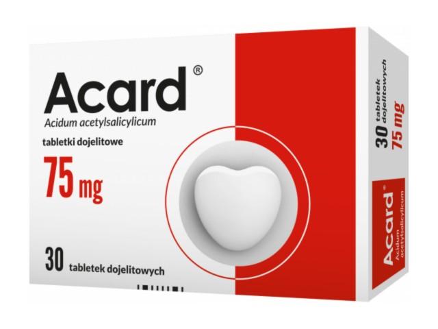 Acard interakcje ulotka tabletki dojelitowe 0,075 g 30 tabl.
