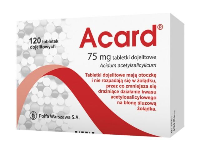 Acard interakcje ulotka tabletki dojelitowe 0,075 g 120 tabl.