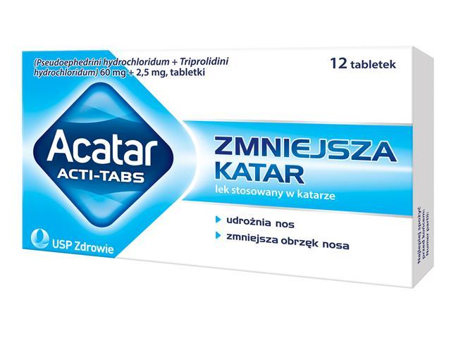Acatar Acti-Tabs interakcje ulotka tabletki 0,06g+2,5mg 12 tabl.