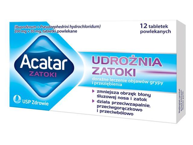 Acatar Zatoki interakcje ulotka tabletki powlekane 0,2g+0,03g 12 tabl.