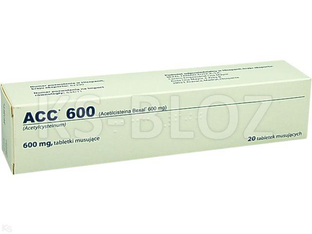 ACC 600 interakcje ulotka tabletki musujące 0,6 g 20 tabl.