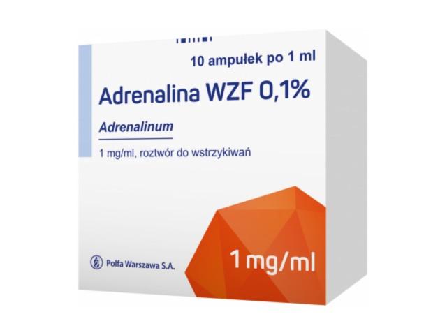 Adrenalina WZF 0,1% interakcje ulotka roztwór do wstrzykiwań 1 mg/ml 10 amp. po 1 ml