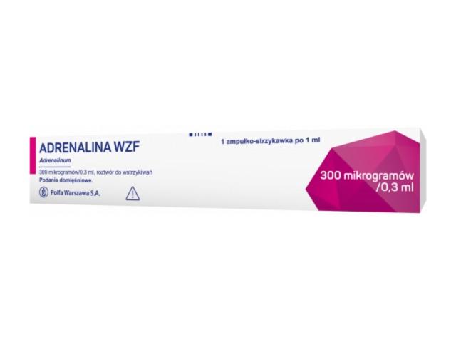Adrenalina WZF interakcje ulotka roztwór do wstrzykiwań 0,3 mg/0,3ml 1 amp.-strz. po 1 ml