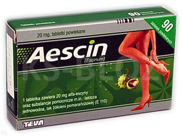 Aescin interakcje ulotka tabletki powlekane 0,02 g 90 tabl.
