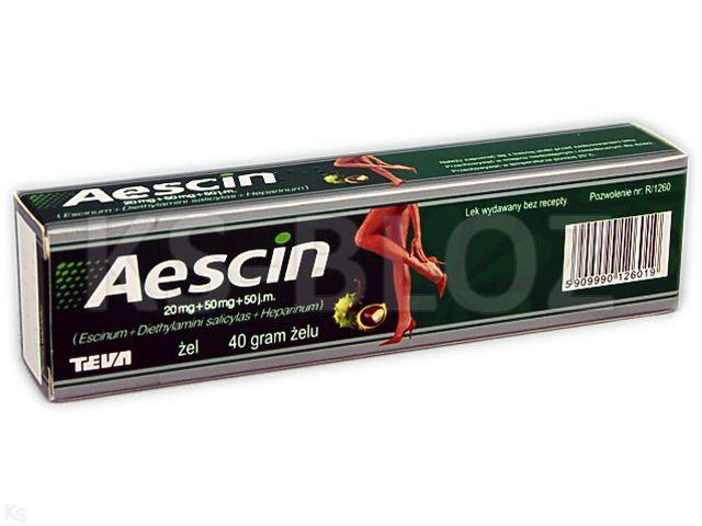 Aescin interakcje ulotka żel (0,02g+0,05g+50j.m.)/g 40 g