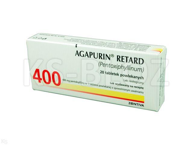 Agapurin Retard interakcje ulotka tabletki o przedłużonym uwalnianiu 0,4 g 20 tabl.