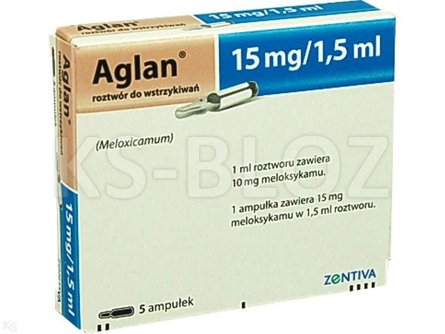 Aglan interakcje ulotka roztwór do wstrzykiwań 0,015 g/1,5ml 5 amp. po 1.5 ml