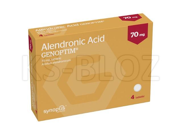 Alendronic Acid Genoptim (Kwas alendronowy 70mg) interakcje ulotka tabletki 0,07 g 4 tabl.