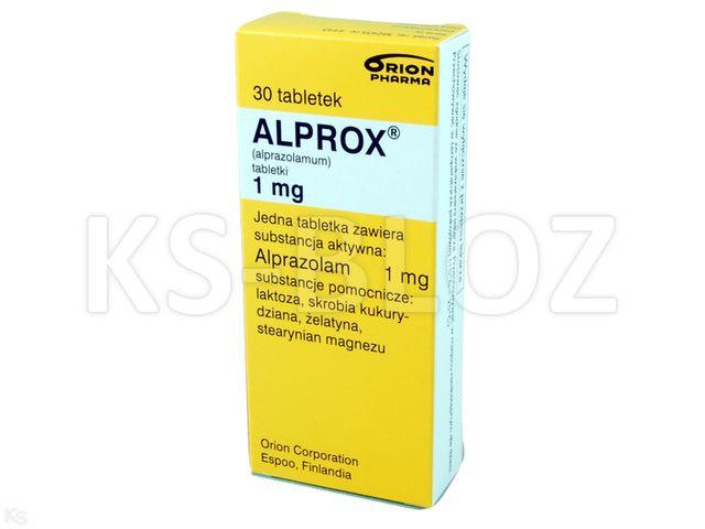 Alprox interakcje ulotka tabletki 1 mg 30 tabl.