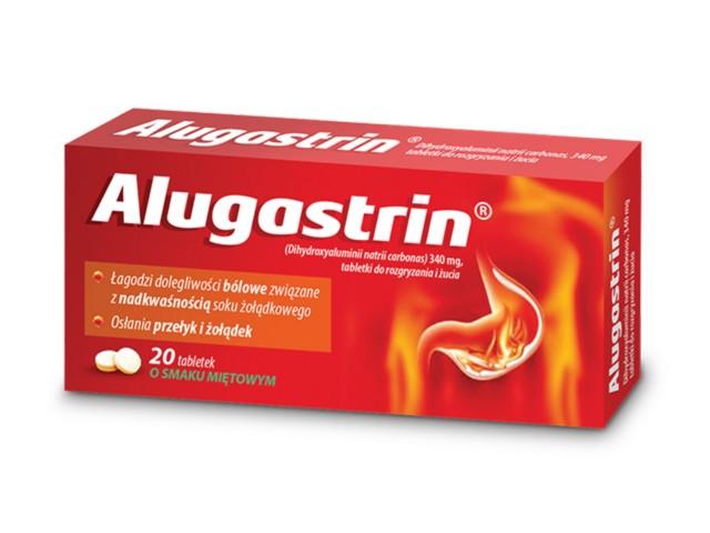Alugastrin interakcje ulotka tabletki do rozgryzania i żucia 0,34 g 20 tabl.