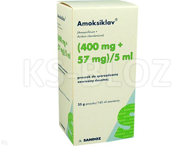 Amoksiklav interakcje ulotka proszek do sporządzania zawiesiny doustnej (0,4g+0,057g)/5ml 140 ml