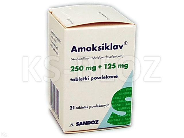 Amoksiklav interakcje ulotka tabletki powlekane 0,25g+0,125g 21 tabl.