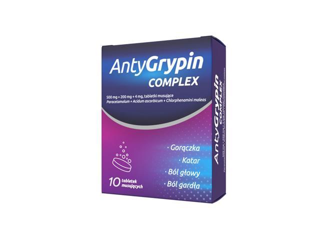 AntyGrypin noc interakcje ulotka tabletki musujące 0,5g+0,2g+4mg 10 tabl.
