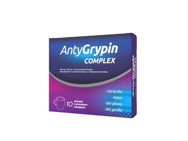 AntyGrypin noc interakcje ulotka granulat musujący 0,5g+0,2g+4mg 10 sasz.