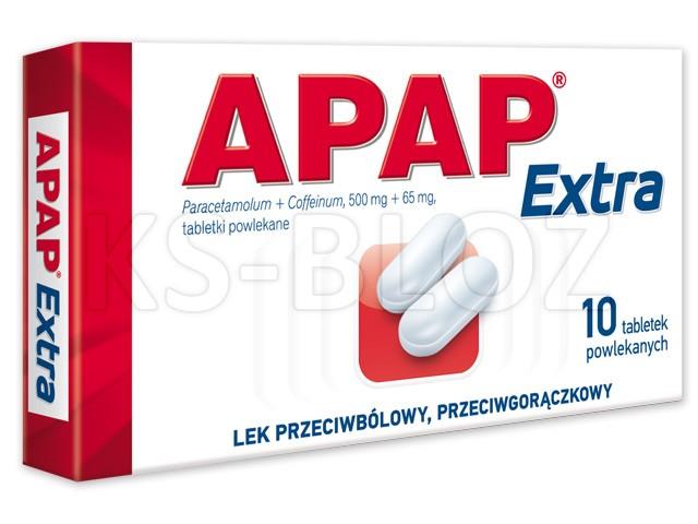 Apap Extra interakcje ulotka tabletki powlekane 0,5g+0,065g 10 tabl.