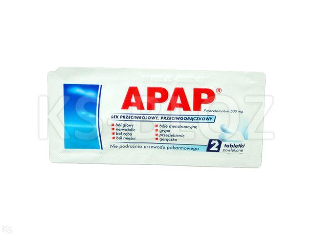 Apap interakcje ulotka tabletki powlekane 0,5 g 2 tabl. | sasz.