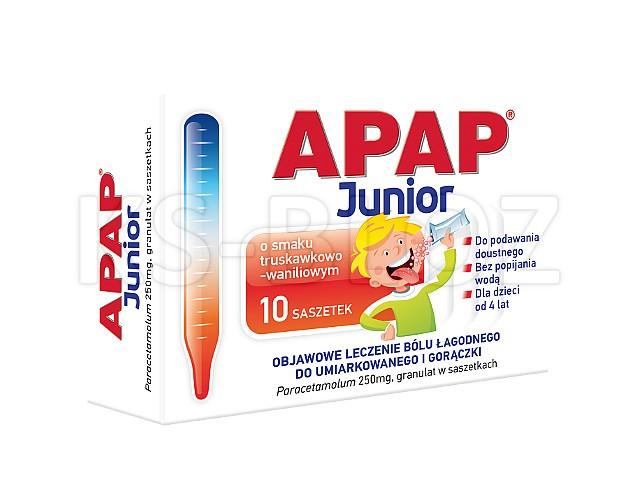 Apap Junior interakcje ulotka granulat 0,25 g 10 sasz.