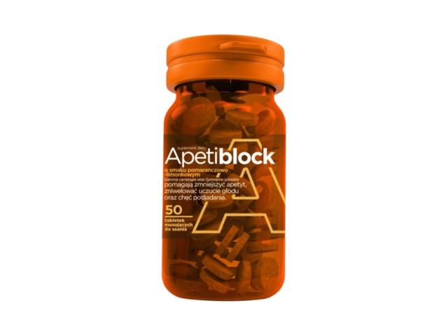 Apetiblock o smaku pomarańczowo-limonkowym interakcje ulotka tabletki musujące do ssania  50 tabl.