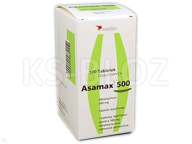 Asamax 500 interakcje ulotka tabletki dojelitowe 0,5 g 100 tabl.