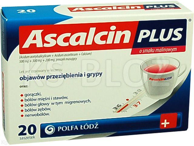 Ascalcin Plus o smaku malinowym interakcje ulotka proszek musujący 0,5g+0,3g+0,2g 20 sasz.
