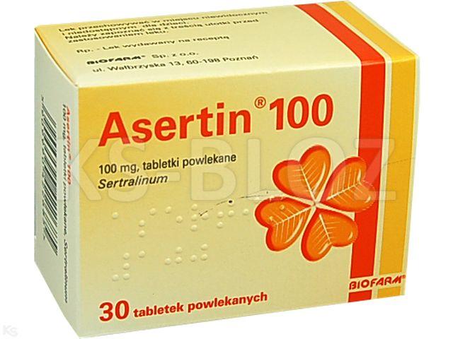 Asertin 100 interakcje ulotka tabletki powlekane 0,1 g 30 tabl.