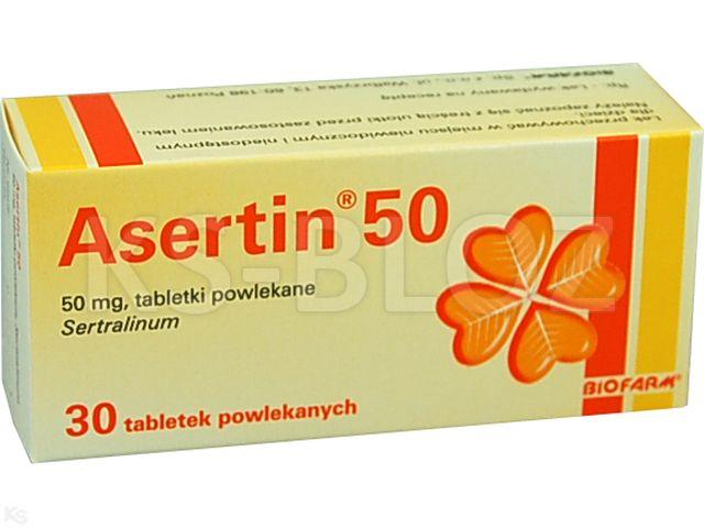 Asertin 50 interakcje ulotka tabletki powlekane 0,05 g 30 tabl.