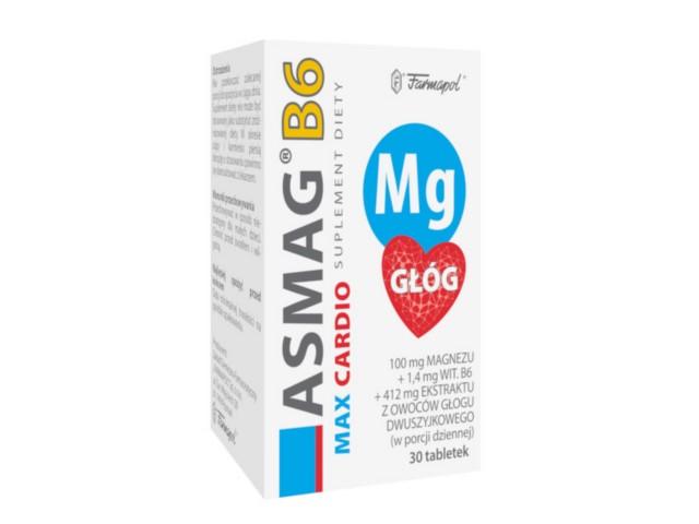 Asmag B6 Max Cardio interakcje ulotka tabletki  30 tabl.