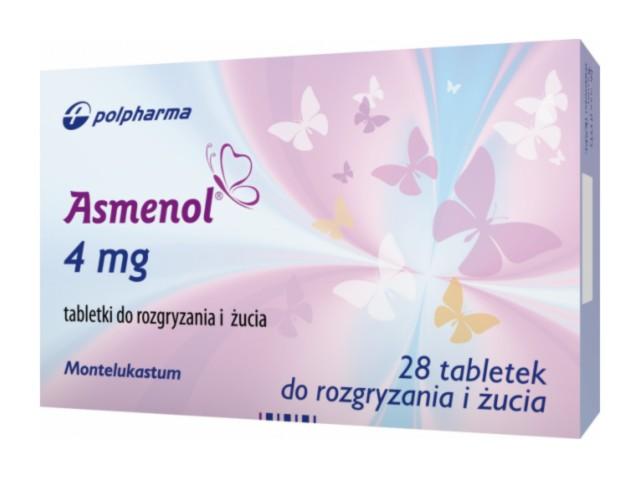 Asmenol interakcje ulotka tabletki do rozgryzania i żucia 4 mg 28 tabl.