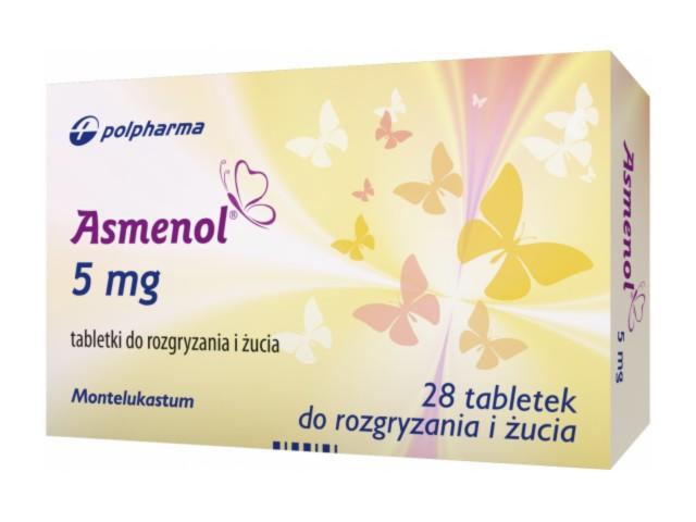 Asmenol interakcje ulotka tabletki do rozgryzania i żucia 5 mg 28 tabl. | 2 blist.po 14 szt.