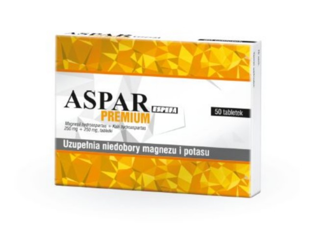 Aspar Espefa Premium interakcje ulotka tabletki 0,017g+0,054g 50 tabl.
