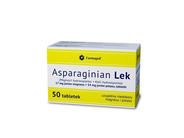 Asparaginian MED (Aspafar Farmapol) interakcje ulotka tabletki 0,017g+0,054g 50 tabl.