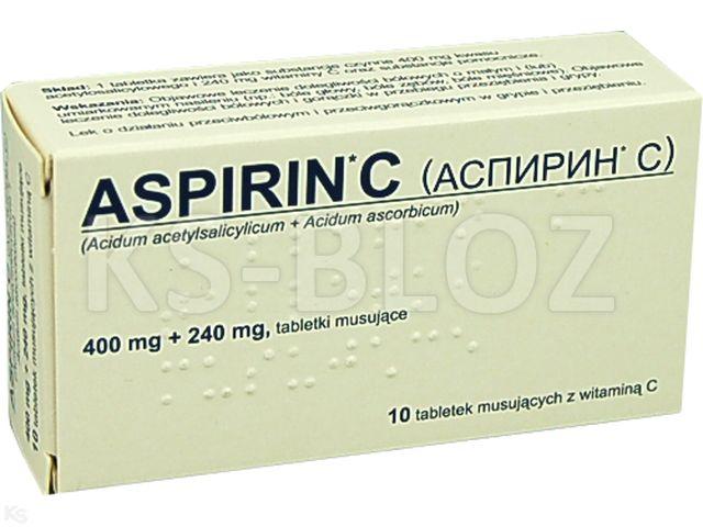 Aspirin C interakcje ulotka tabletki musujące 0,4g+0,24g 10 tabl.