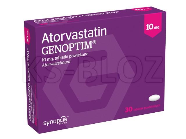 Atorvastatin Genoptim interakcje ulotka tabletki powlekane 0,01 g 30 tabl.