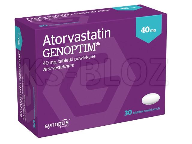 Atorvastatin Genoptim interakcje ulotka tabletki powlekane 0,04 g 30 tabl.