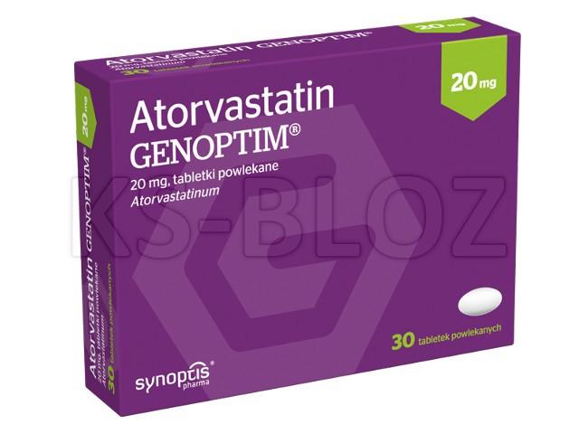 Atorvastatin Genoptim interakcje ulotka tabletki powlekane 0,02 g 30 tabl.