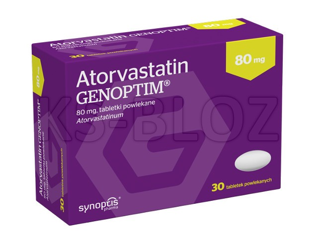 Atorvastatin Genoptim interakcje ulotka tabletki powlekane 0,08 g 30 tabl.