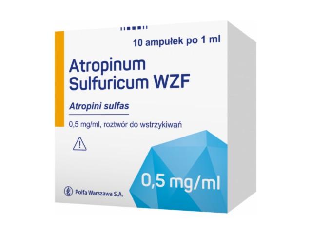 Atropinum sulfuricum WZF interakcje ulotka roztwór do wstrzykiwań 0,5 mg/ml 10 amp. po 1 ml