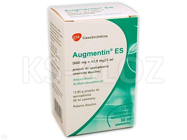 Augmentin® ES interakcje ulotka proszek do sporządzenia zawiesiny doustnej (0,6g+0,0429g)/5ml 50 ml
