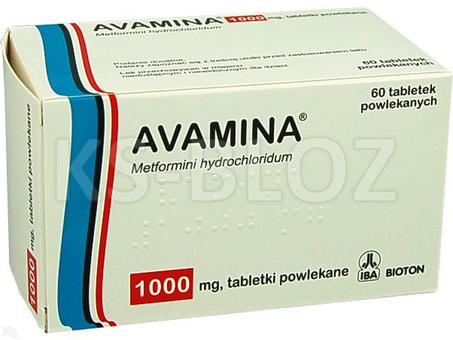 Avamina interakcje ulotka tabletki powlekane 1 g 60 tabl. | 6 blist.po 10 szt.