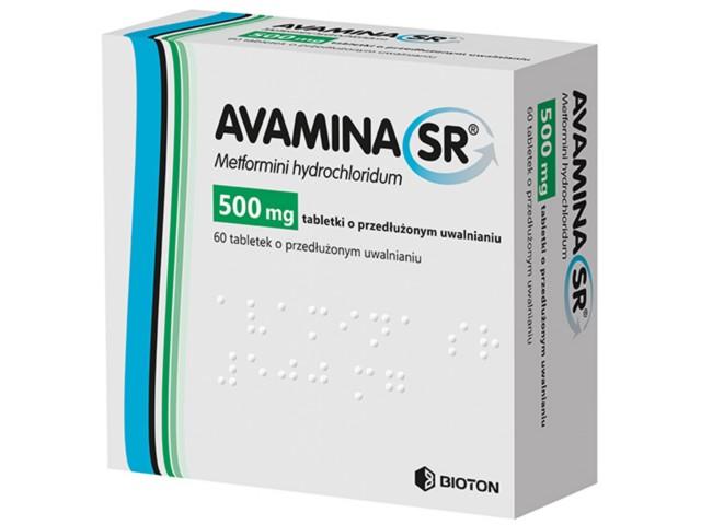 Avamina SR interakcje ulotka tabletki o przedłużonym uwalnianiu 0,5 g 60 tabl.