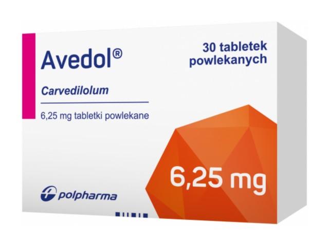Avedol interakcje ulotka tabletki powlekane 6,25 mg 30 tabl.