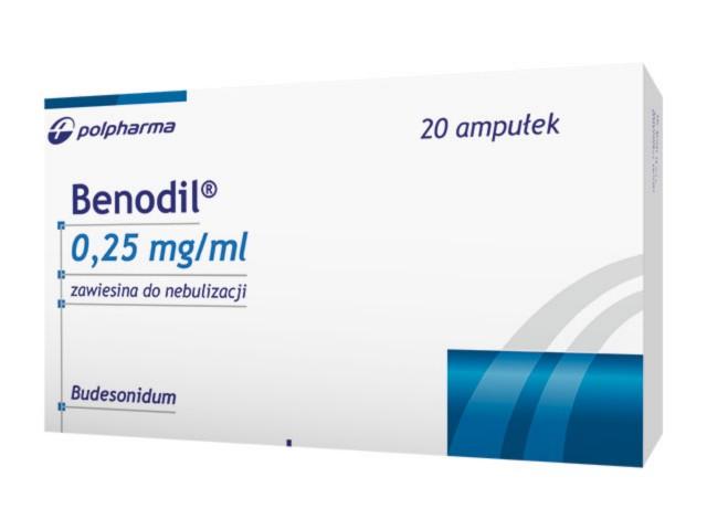 Benodil interakcje ulotka zawiesina do nebulizacji 0,25 mg/ml 20 amp. po 2 ml