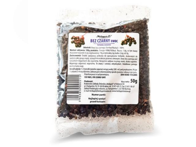 Bez czarny owoc interakcje ulotka zioła do zaparzania  50 g