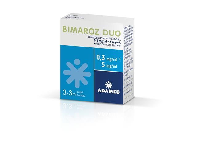 Bimaroz Duo interakcje ulotka krople do oczu, roztwór (0,3mg+5mg)/ml 3 but. po 3 ml