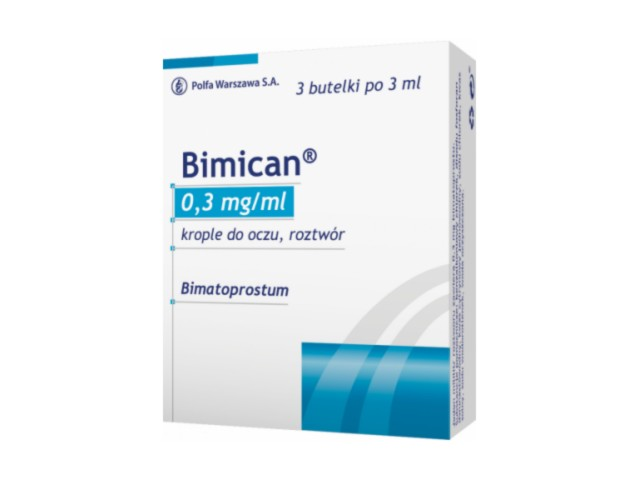 Bimican interakcje ulotka krople do oczu, roztwór 0,3 mg/ml 3 but. po 3 ml