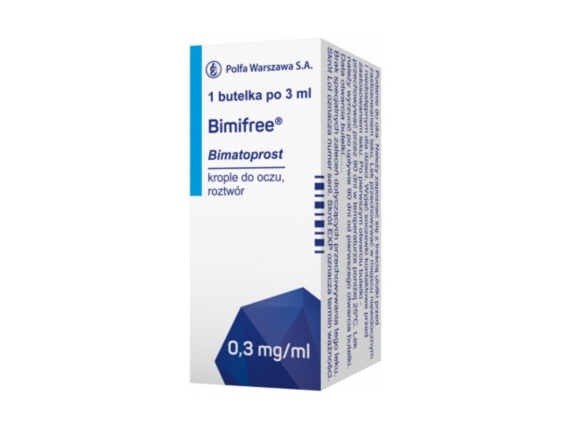 Bimifree interakcje ulotka krople do oczu, roztwór 0,3 mg/ml 1 but. po 3 ml