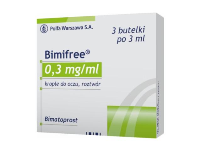 Bimifree interakcje ulotka krople do oczu, roztwór 0,3 mg/ml 3 but. po 3 ml