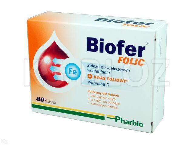 Biofer Folic interakcje ulotka tabletki  80 tabl.