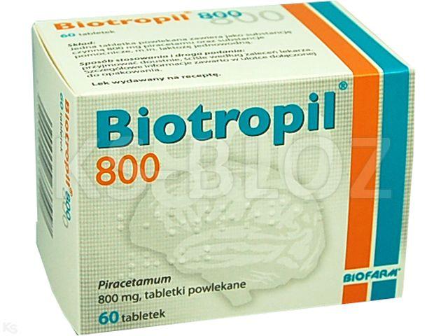 Biotropil 800 interakcje ulotka tabletki powlekane 0,8 g 60 tabl.